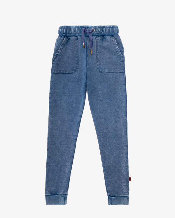 Bandits by Band of Boys Vintage Blue Pocket Skinny Trackies - Flat Lay