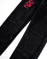 Bandits by Band of Boys Black Panel Trackies with Red Viper - Flat lay close up of knee