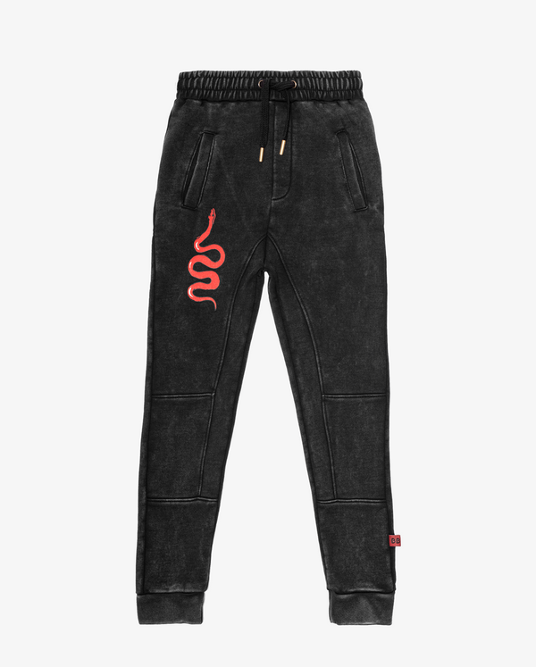 Bandits by Band of Boys Black Panel Trackies with Red Viper - Flat Lay