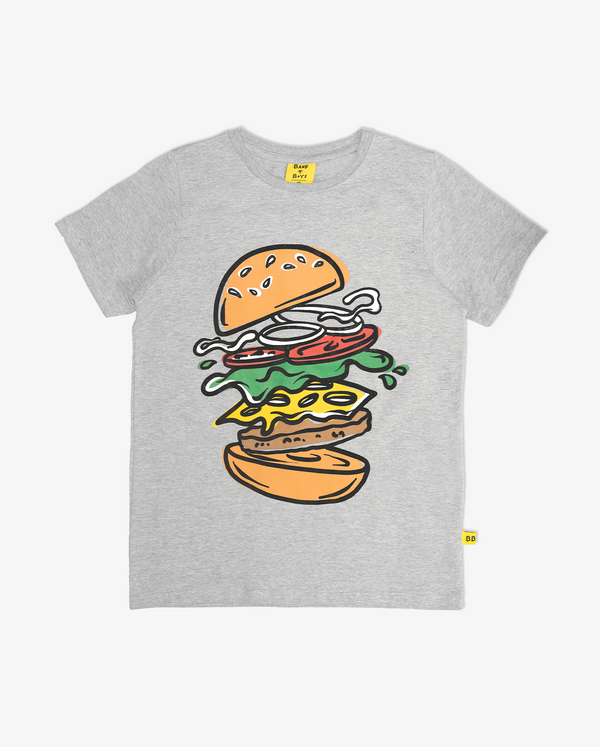 You got buns hun tee - Grey short sleeve boys tshirt with large bright coloured print of hamburger on the front.
