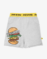 You got buns hun shorts - Grey boys track shorts with large print of hamburger on right thigh, front pockets and bright yellow elasticated waist band with black 'band of boys' text.