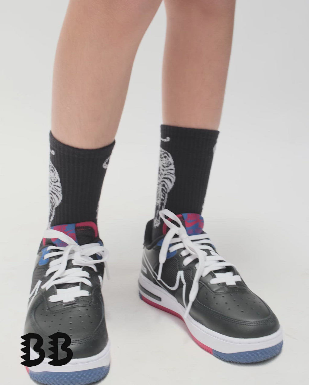 Black Band of Boys Crouching Tiger Skate Socks from The Collectibles range video on model.