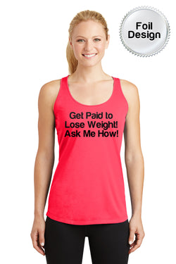 "Women's ""Get Paid to Lose Weight"" Sport-Tek Tank - Coral"