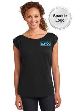 Women's Sparkle EPX Body Gathered Shoulder Tee - Black