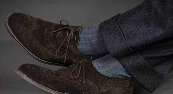 Grey Pima Cotton Dress Socks with Charcoal Trousers_grande
