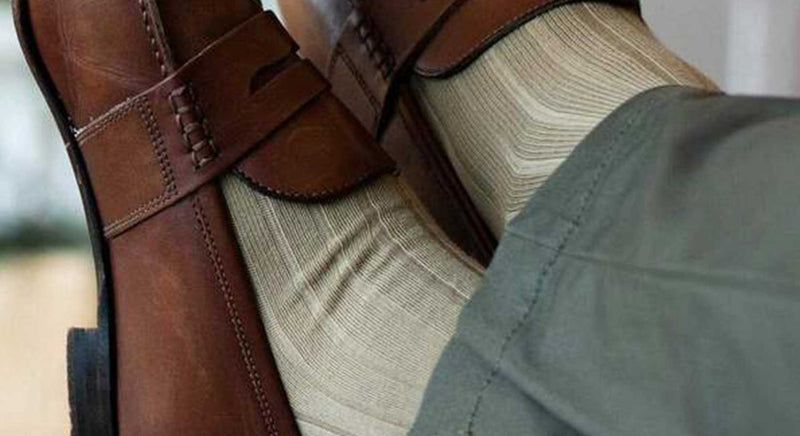 Khaki Pima Cotton Dress Socks