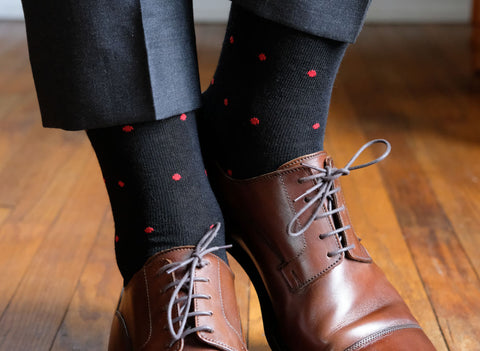 Black Dress Socks with Red Polka Dots