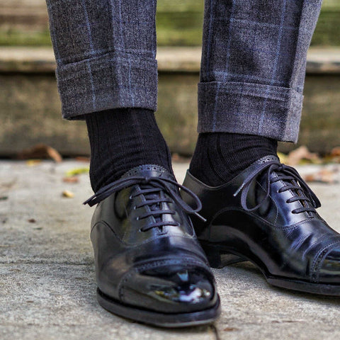 black merino wool dress socks with black oxfords and charcoal trousers