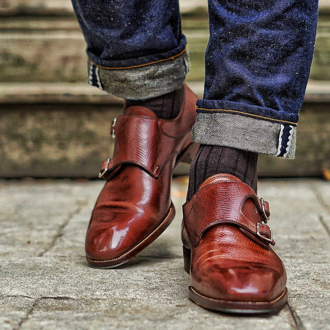 brown merino wool dress socks with jeans and brown monkstrap dress shoes