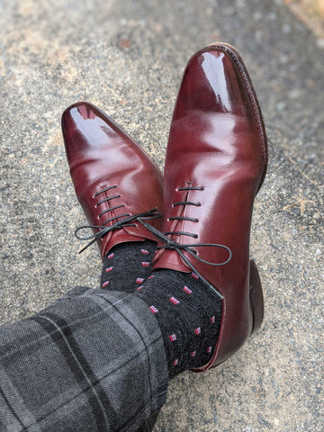 charcoal patterned dress socks with grey windowpane trousers