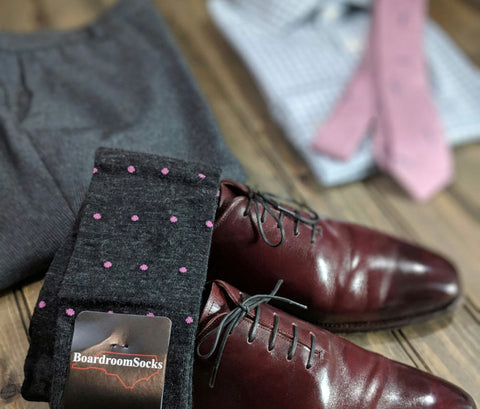 Charcoal Grey Patterned Dress Socks