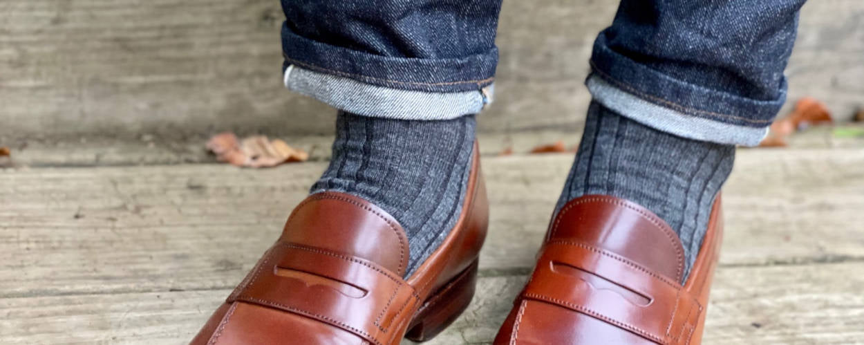 Denim with Loafers and Dress Socks