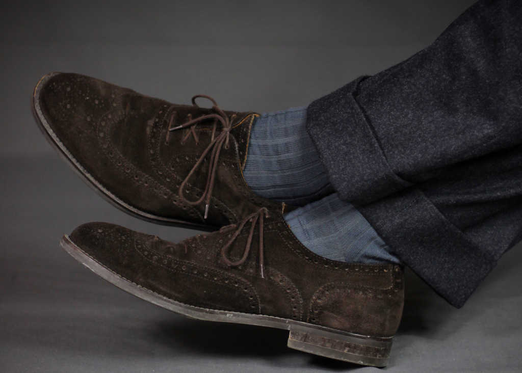 grey pima cotton ribbed dress socks with charcoal wool trousers and brown suede dress shoes