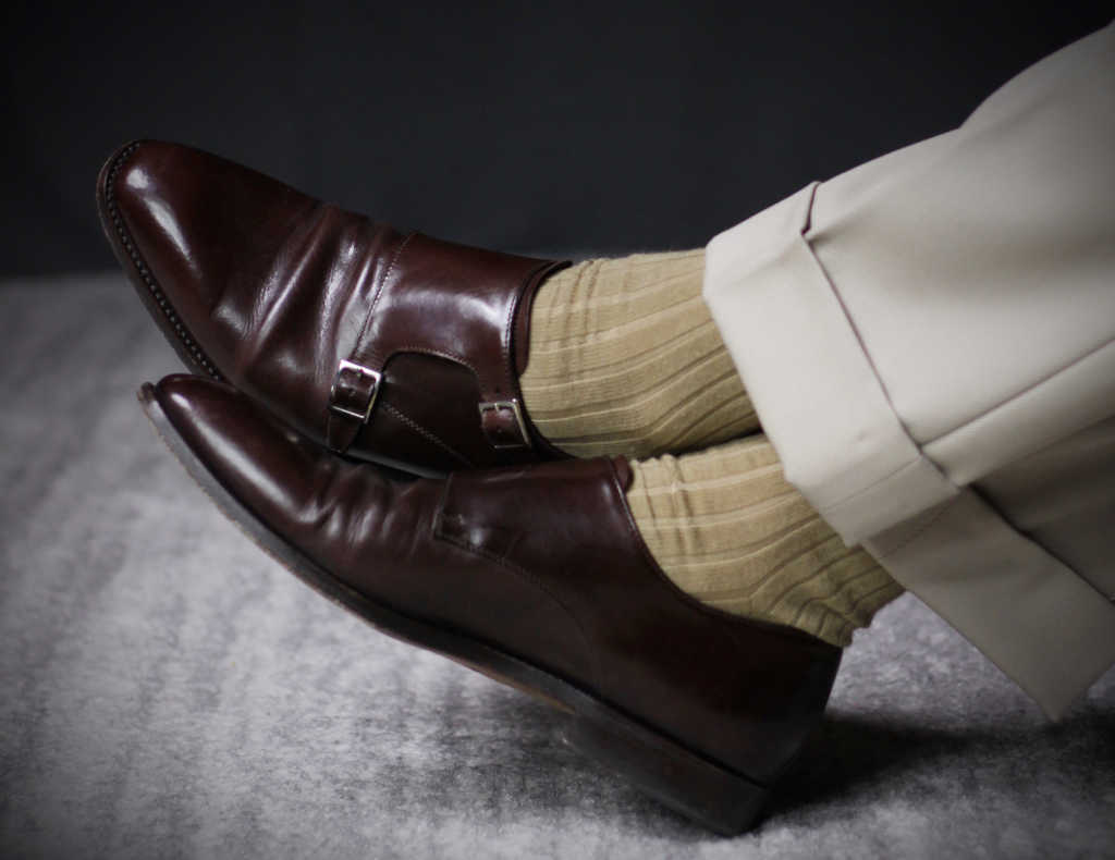 khaki merino wool dress socks and cuffed khaki pants with dark brown monkstrap dress shoes