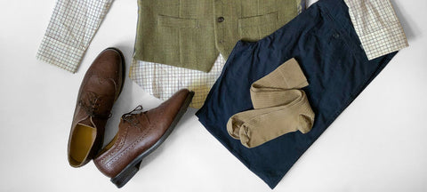 Khaki Dress Socks with Navy Trousers