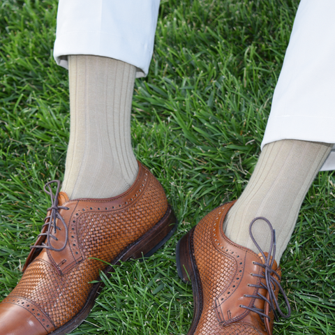 Khaki Men's Dress Socks