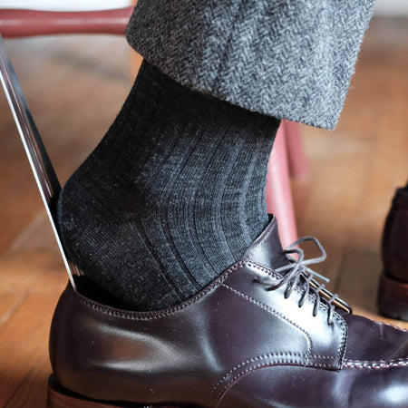 Grey Merino Wool Dress Socks with Grey Pants and Dark Brown Dress Shoes