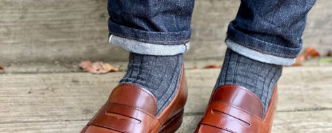 Mid-Grey Dress Socks with Denim