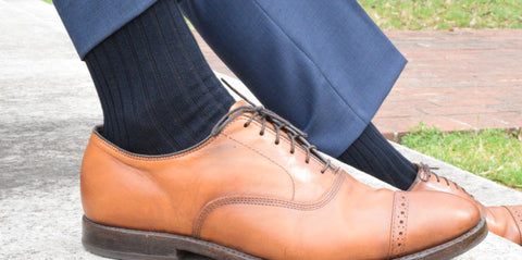 Navy Dress Socks with Light Brown Shoes