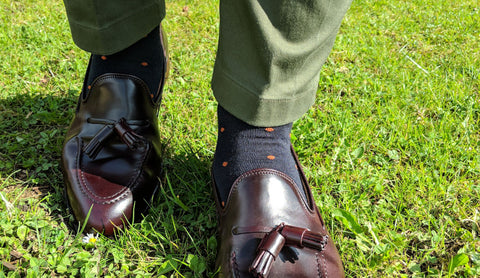 Olive Trousers with Navy Dress Socks