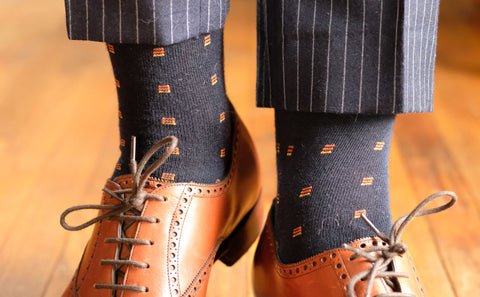 Navy Patterned Socks with Navy Pinstripe Trousers