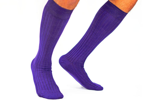 Purple Over the Calf Dress Socks