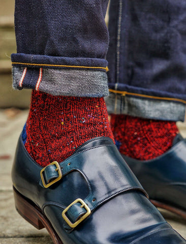 Red Donegal Tweed Socks with Jeans and Blue Monkstrap Shoes