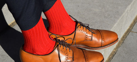 Red Dress Socks with Navy Trousers