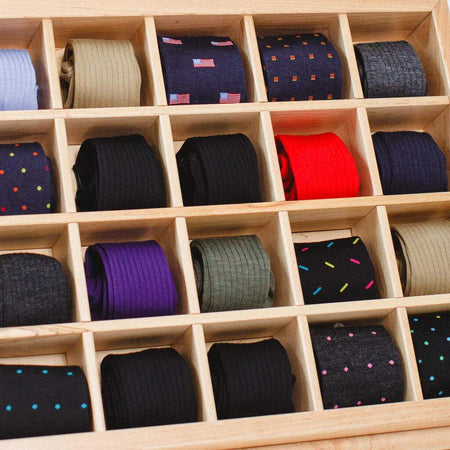 Wooden Display full of Colorful Men's Dress Socks