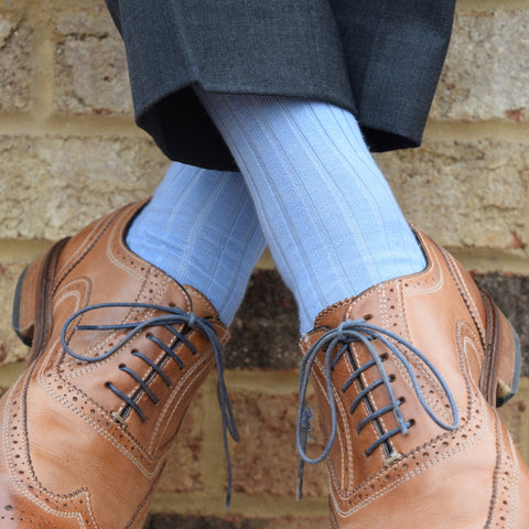 Sky Blue Merino Wool Dress Socks