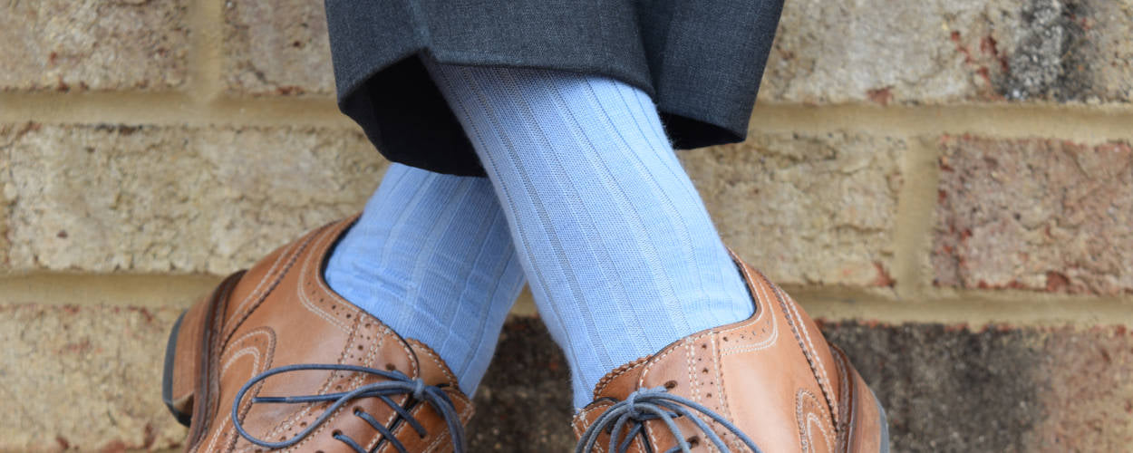 Sky Blue Dress Socks with Charcoal Trousers