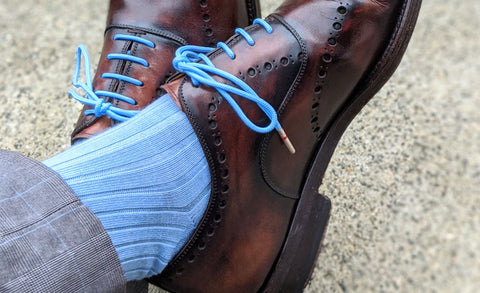 Bright Blue Dress Socks with Dress Shoes