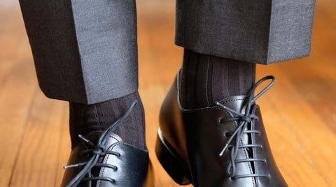 Smooth Drape of Trousers with Dress Socks