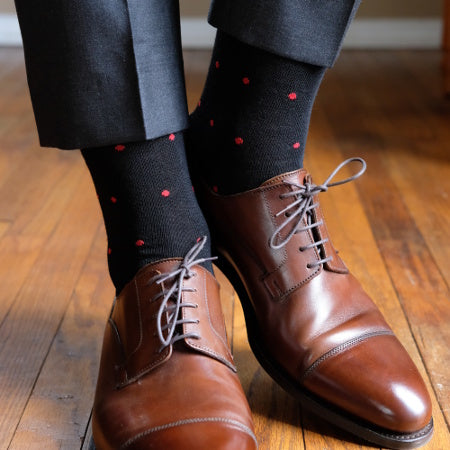Black Patterned Merino Wool Dress Socks