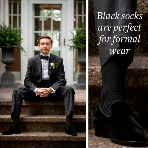 black dress socks are perfect for formal wear