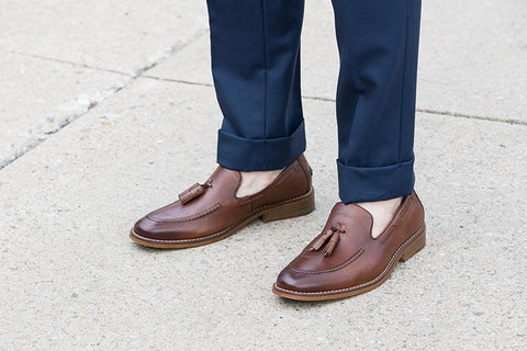 brown tassel loafers with no socks