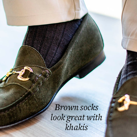 brown socks with khaki pants and olive bit loafers