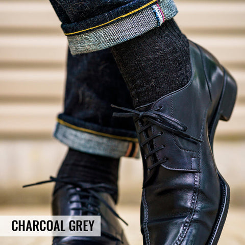 charcoal grey dress socks with dark jeans and black dress shoes