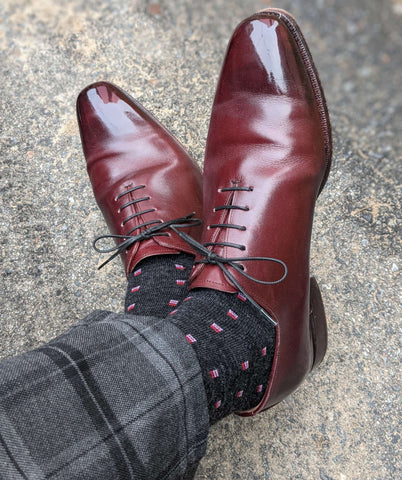 Charcoal Merino Wool Dress Socks with Burgundy Dress Shoes and Plaid Trousers