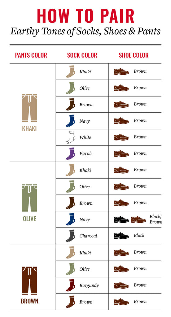 how to match earthy tones of dress socks shoes and pants
