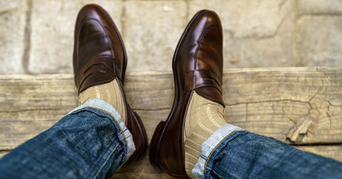 khaki dress socks with loafers and jeans