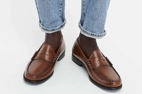 brown penny loafers with jeans and no socks