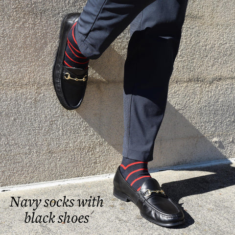 navy blue dress socks with black bit loafers and navy pants