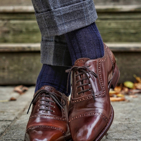 navy dress socks with a grey suit and brown dress shoes