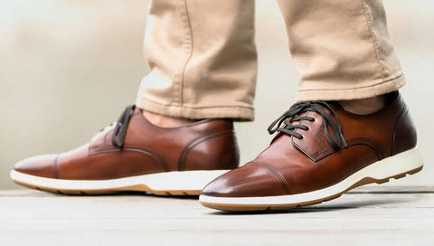 brown leather dress sneakers with no socks