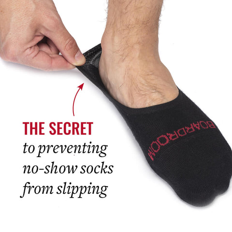 black no show socks with silicone gripper on heel