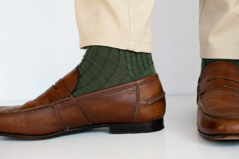 olive green dress socks with loafers and khakis