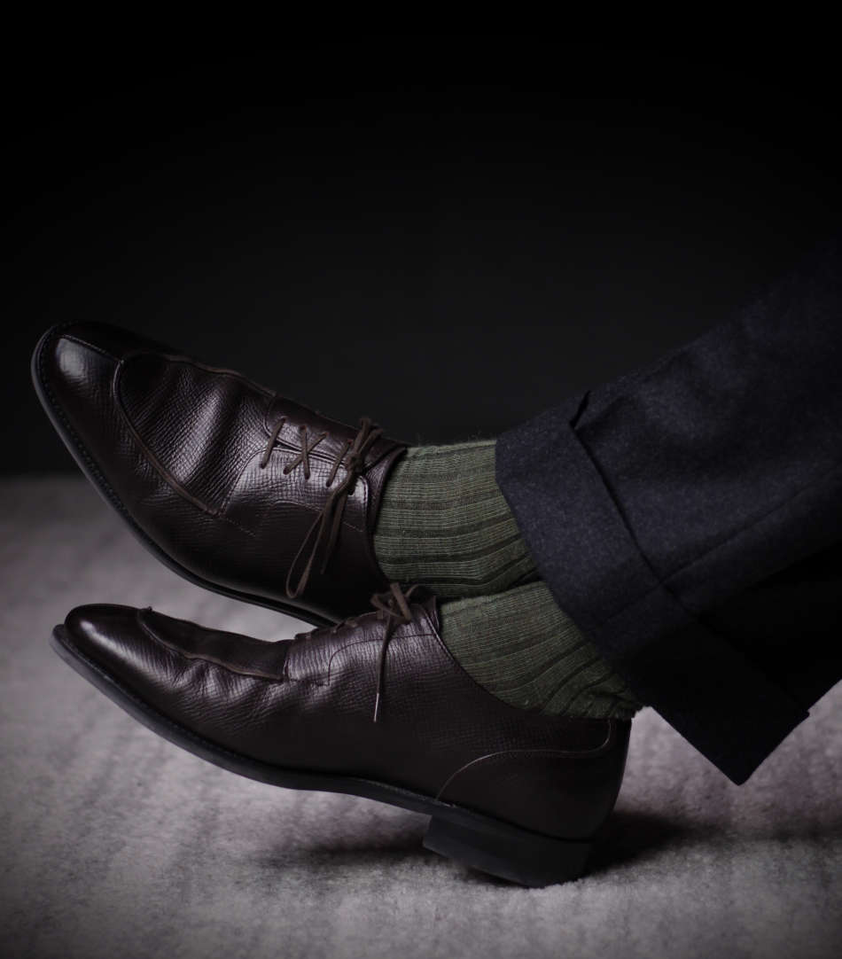 olive merino wool dress socks with charcoal grey trousers and dark brown pebble leather dress shoes