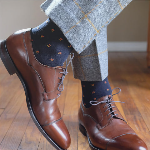 navy dress socks with light grey trousers and dark brown captoe dress shoes