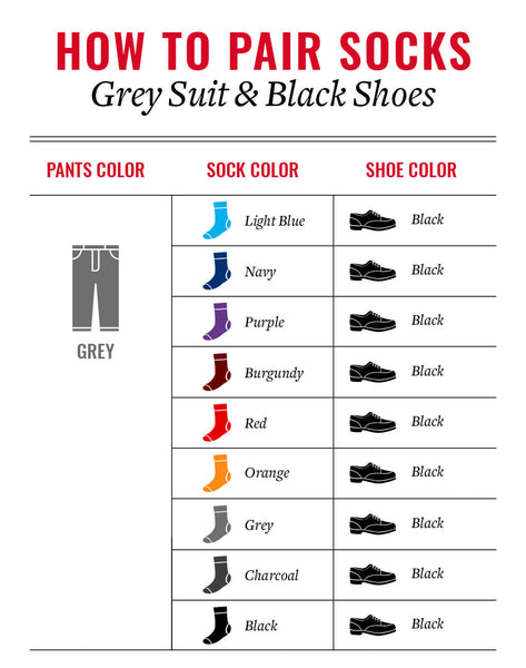 sock colors that go with a grey suit and black shoes